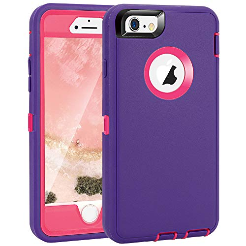 Maxcury Crosstreesports iPhone 6 Case iPhone 6s Case Heavy Duty Shockproof Series Case for iPhone 6/6S (4.7')-V2 with Built-in Screen Protector Compatible with All US Carriers - Purple and Peach