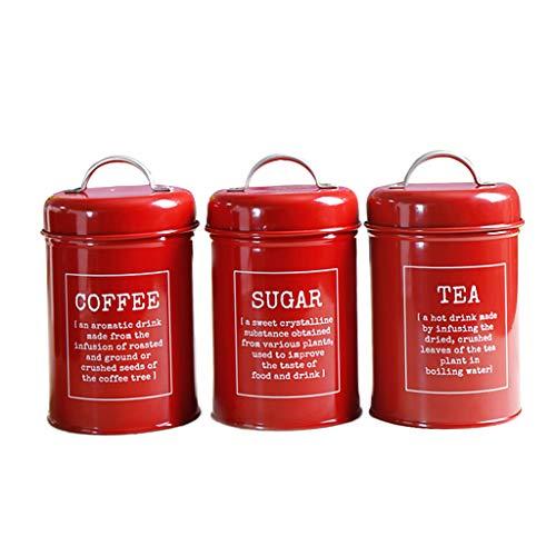 Juego de Recipiente de Almacenamiento de Condimento Bote de Té Café Utensilios de Cocina - rojo