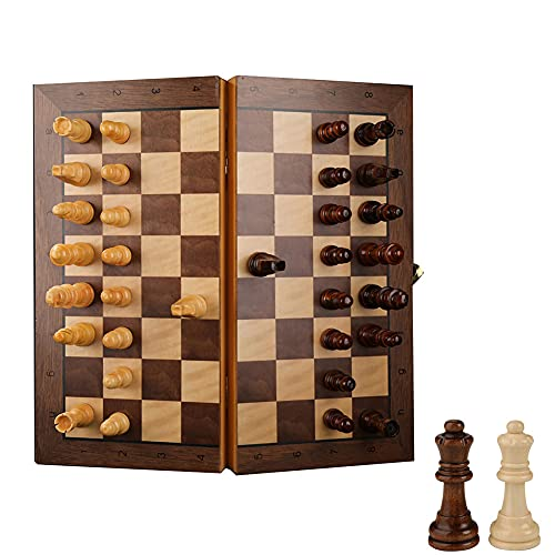 LHYCM Magnetic Wooden Chess Set,Travel Games Board,Funny Folding Board Game with High-End for Kids and Adults,Give Away Getting Started Guide Books & 2 Extra Queens