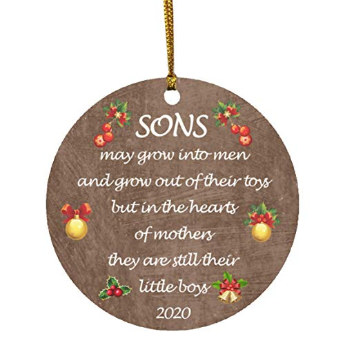 Gift for Son Christmas Ornament 2020 Sons in The Hearts of Mothers Poem Present Idea,Mom from Young Or Grown Child Ornament
