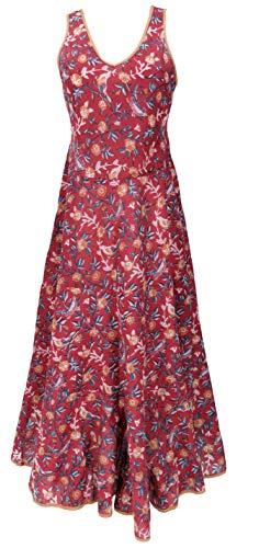 GURU SHOP Vestido largo de algodón, vestido de verano, para mujer, de algodón, largo y medio, ropa alternativa rojo L