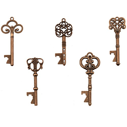 Key Bottle Openers - Assorted Vintage Skeleton Keys, Wedding Party Favors (Pack of 25, Copper)