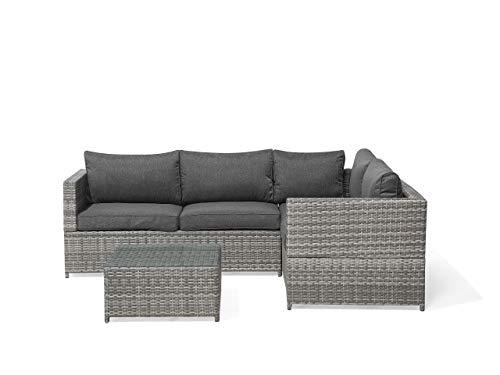Beliani Trendy Lounge Set 5-Sitzer Ecksofa Couchchtisch Rattan grau Avola