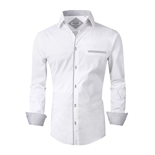 Alex Vando Mens Dress Shirts Long Sleeve Regular Fit Casual Men Shirt,White,Medium