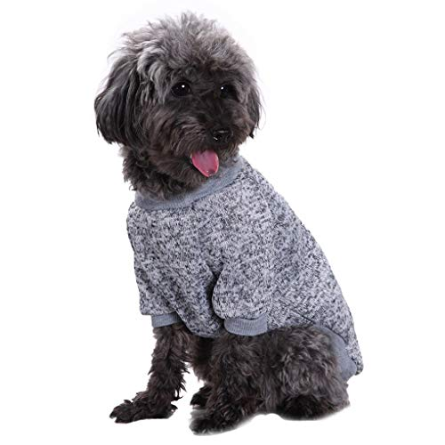 Jecikelon Pet Dog Clothes Knitwear Dog Sweater Soft Thickening Warm Pup Dogs Shirt Winter Puppy Sweater for Dogs (Grey, M)