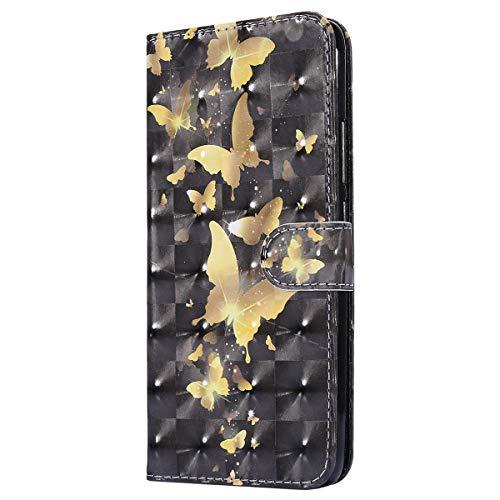 Herbests Kompatibel mit Xiaomi Redmi S2 Lederhülle Glitzer Bling Glänzend Bunt Hülle Leder Tasche Dünn Klappbar Schutzhülle Flip Hülle Cover Handytasche Etui,Gold Schmetterling