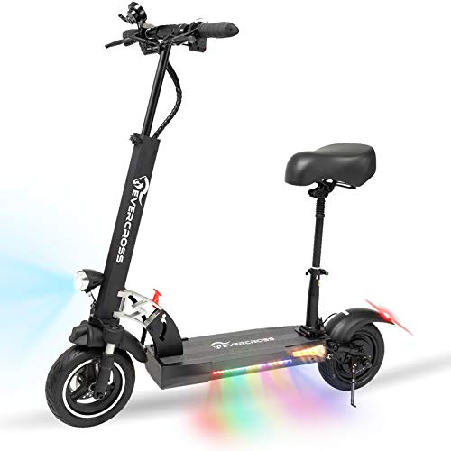 EverCross Electric Scooter, Electric Scooter for Adults with 800W Motor, Up to 30MPH & 25 Miles, Scooter for Adults with Dual Braking System, Folding Electric Scooter Offroad with 10'' Pneumatic Tires