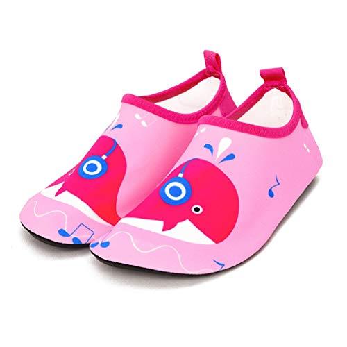 QQSX Schwimmende Kinderschuhe Baby-Strandschuhe rutschfeste Schwimmschuhe Schnittfeste, Dicke Sohlen Trockene Schuhe Kleinkinderschuhe (Color : Pink Whale, Size : 27-28)