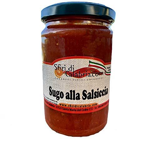 Sugo Pronto alla Salsiccia Dolce 290gr, Pomodoro 100% Italiano - No Conservanti - Antica Ricetta Calabrese - Prodotti Tipici Calabresi