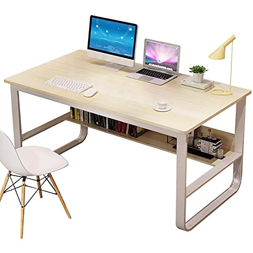 DEBND Escritorio Industrial con Estante de Oficina, Mesa de Estudio para Muebles de Oficina en el hogar, Mesa de Estudio de diseño Simple y Moderno, Escritorio Robusto, Blanco