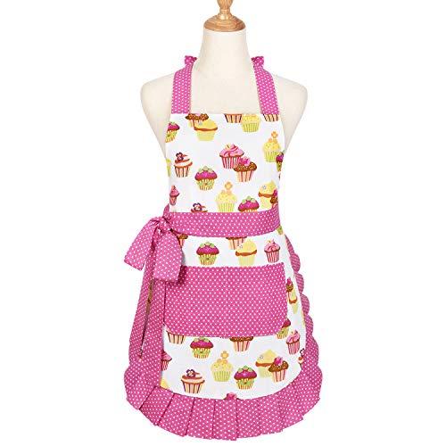 Yastouay Pink Schleife Schürze, Baumwolle Kochschürze mit Tasche, Kuchen Muster Damen Backenschürze mit Verstellbarem Band, Waschbar Küche Erwachsene Schürze