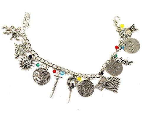 Braccialetto con charm ispirato a Il Trono di Spade, con charm delle case Stark, Lannister e Targaryen, confezione regalo inclusa