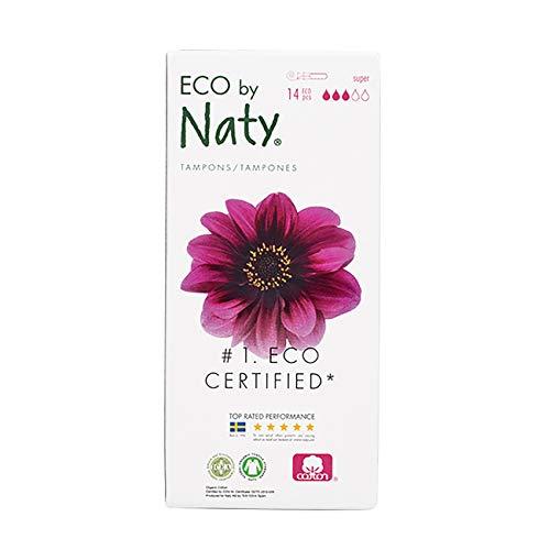 Eco by Naty, Tampons avec applicateur, Super, 14 tampons. Fabriqués à partir de fibres végétales. Vegan. 100% coton bio.