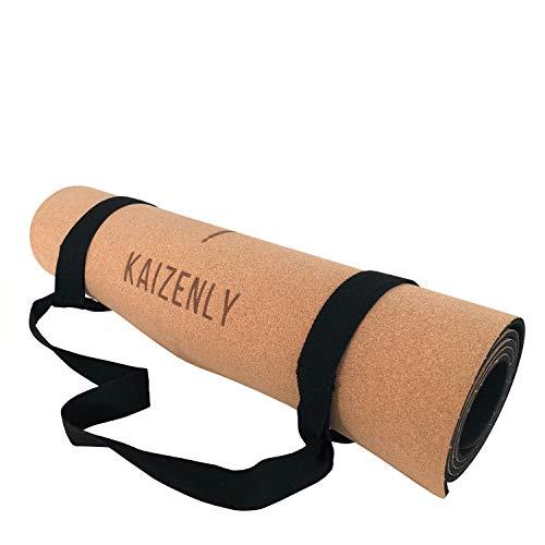 KAIZENLY Pro Umweltfreundliche Yoga Matte - Naturkork, Hervorragender Grip, Hypoallergen - Yogamatte Rutschfest - Korkmatte für Yoga, Pilates, Gymnastik & Fitness - Yoga Mat mit Tragegurt