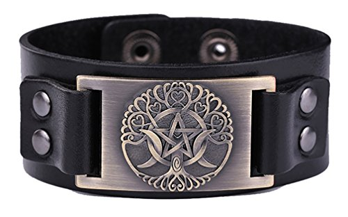 My Shape Herren-Armreif aus Leder, Motiv: Baum des Lebens, dreifache Mondgöttin, Pentagramm, Wicca-Amulett, mittelgroß