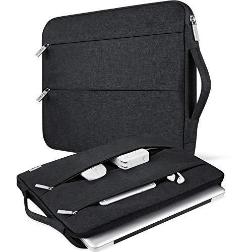 """V Voova 13 13.3 Inch Laptop Sleeve Carrying Case Compatible with 13"""" 2018-2021 MacBook Air/MacBook Pro M1,Surface Book 2 13.5"""",HP Envy 13 Chromebook Protective Slim Notebook Bags with Handle,Black"""