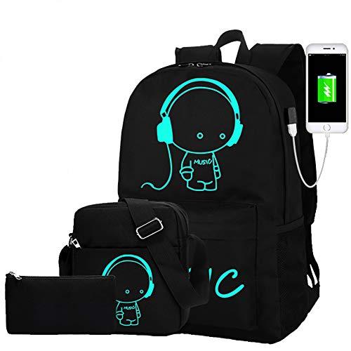Lichtgevende School Rugzak - Anime Lichtgevende Schoudertas Lichtgewicht met Laptop Vakken voor Studenten Tieners Jongen Meisje Boek Laptop Reizen Camping 35 L