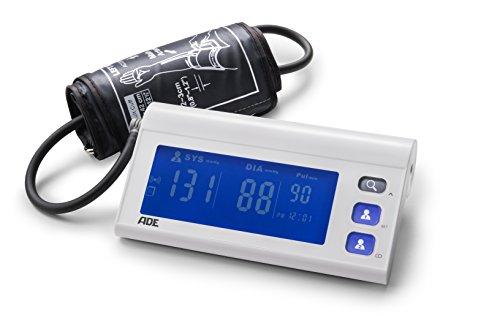 ADE Tensiómetro de brazo digital BPM1601  medición presión oscilométrica, pulso y aviso de arritmia. Compatible con App. gratuita FITvigo Display LCD y memoria 2 usuarios