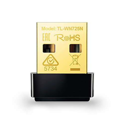 TP-Link TL-WN725N Adaptador WiFi USB inalámbrico Nano, Compatible con Raspberry Pi, N 150 Mbps, Botón WPS, AP soft Windows10/8.1/8/7/XP, Mac OS X 10.7-10.11, Linux, negro