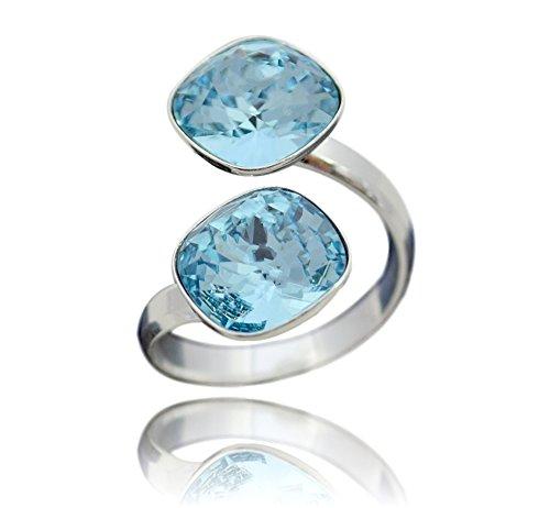 Crystals & Stones Swarovski *DOPPELT SQUARE* *VIELE FARBEN* 925 Silber Ring Swarovski Elements - 925 Sterling Silber Damen Ring Größe Verstellbar (Aquamarine)