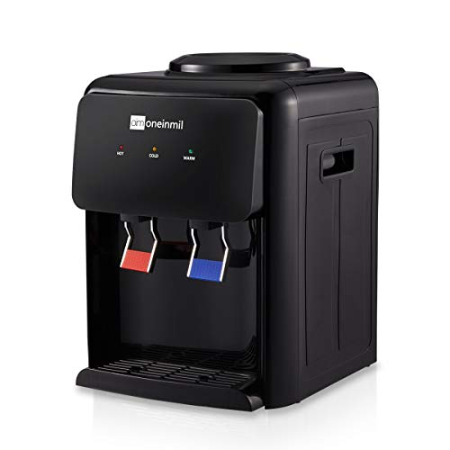 Oneinmil Countertop Water Cooler Dispenser-2-5 Gallon Hot & Cool Water, Ideal For Home Office Use, Black (only ≤59℉)
