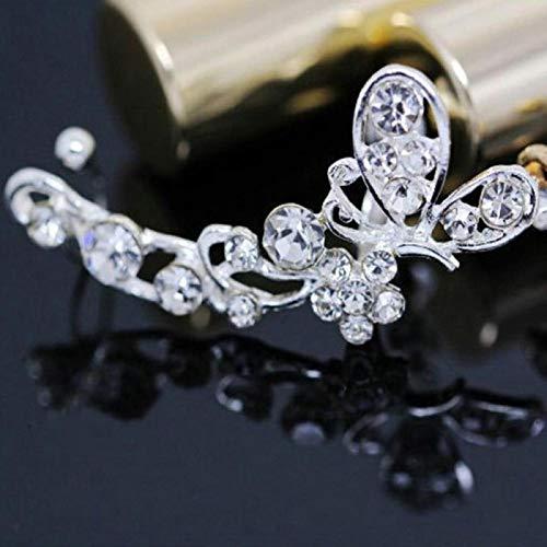 LIUL 1 Pieza Punk Mariposa Cristal Diamantes de imitación Flor Oreja Brazalete Wrap Clip-on Stud Pendiente Mariposa Flor Pendiente