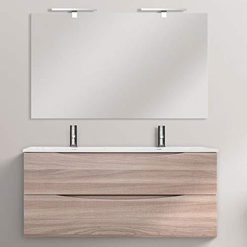 Bagno Italia Meuble de salle de bain léger 120 cm suspendu double lavabo chêne avec deux tiroirs Soft Close meubles I