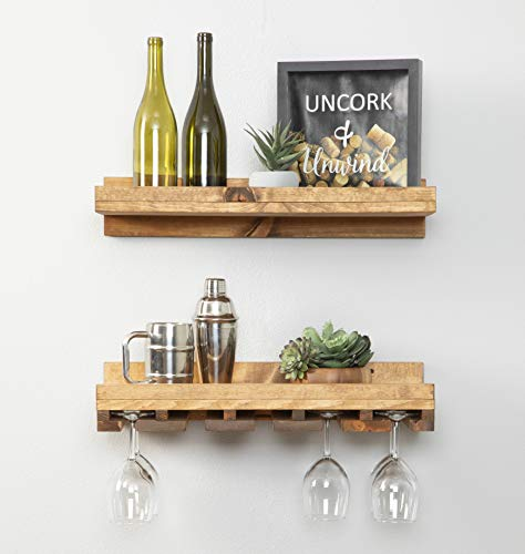 Del Hutson Designs Rustic Real Wood Wall Mounted Wine Bottle Rack Stemware Hanger Set Farmhouse Kitchen Dining Walnut 24 Inch  2 FT