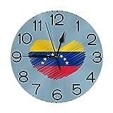 ハート形のベネズエラの国旗 壁掛け時計 おしゃれ デジタル ミュート 円形 掛け時計 置き時計 目覚まし時計 インテリア 装飾