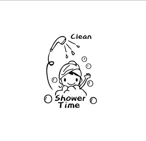Cartoon saubere Dusche Zeit Kinder Baden Wandaufkleber für Badezimmer Wohnkultur abnehmbare Aufkleber Vinyl Kunst schwarze Aufkleber