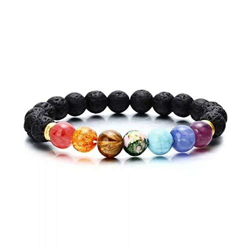 Pulsera de cuentas de 7 chakras hecha de piedras Lava, pulsera de energía para hombres y mujeres