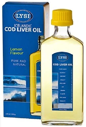 Lysi Huile de foie de Morue - Oméga 3 capital santé Saveur Citron - Riche en EPA, DHA et Vitamine A, D, E - 240 ml