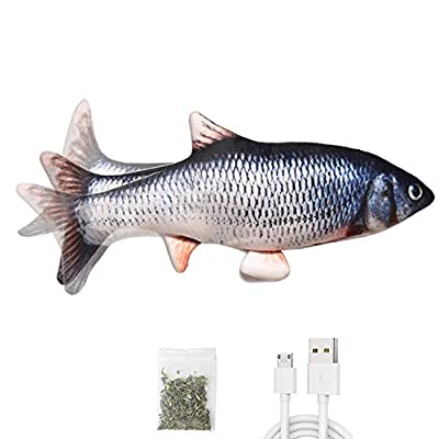 Leven Flopping Cat Kicker Fish Toy, Realistic Moving Fish for Small Dogs, Electric Wiggle Fish Catnip Toys, Floppy Fish cat Toy, Motion Kitten Toy, Interactive Cat Toys for Cat Exercise