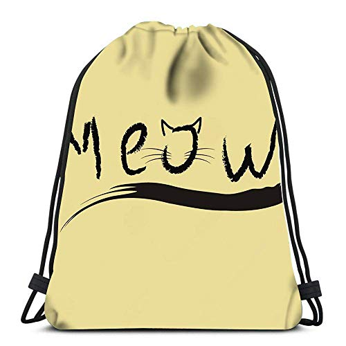 Unisex Drawstring Bags,Cat Meow Foldable Tote Sack Cinch Bag Men & Women Drawstring Backpack Casual Sackpack Backpack For School Swimming Running