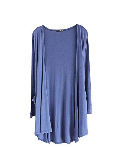 ZongSen Donne Comodo Manica Lunga Colore Puro Knit Cardigan con Tasca Denim Blu Taglia Unica