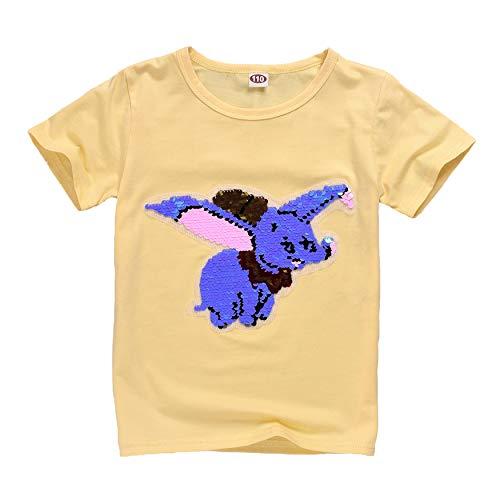 El Nuevo bebé de Dos Colores Dumbo de Manga Corta Puede Cambiar el patrón de Lentejuelas de la Camiseta