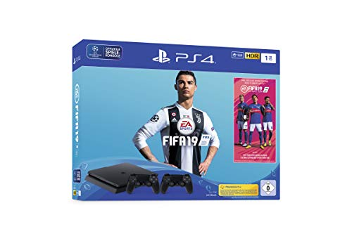 Sony PlayStation 4 Slim 1TB + 2x DUALSHOCK 4 + FIFA 19 Negro 1000 GB Wifi - Videoconsolas (PlayStation 4, Negro, 8192 MB, GDDR5, AMD Jaguar, AMD Radeon)