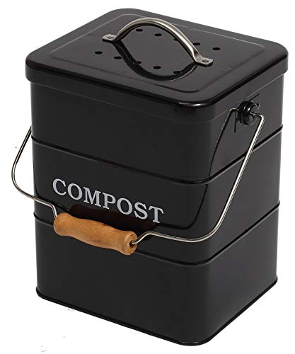 Xbopetda Stainless Steel Compost Bin for Kitchen Countertop,1 Gallon,...