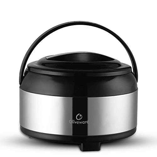 Oliveware Supremo Casseroles | Stainless Steel with Insulated Lids | Keeps Chapati, Food Curry Hot Meal with Easy to Carry Handle - Thermosteel & Double Wall Insulation - 2500 ml