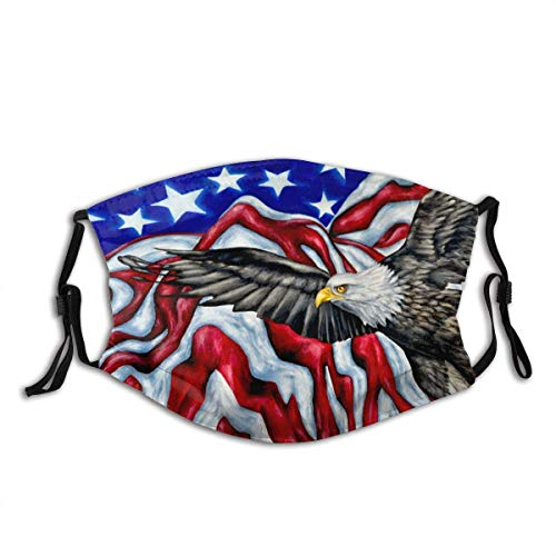 Blue Red White American Flag Artistic Bald Eagle Eagle Flag Dust Washable Reusable Filter and Reusable Mouth Warm Windproof Cotton Face