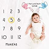 VJRQM Manta para bebé recién nacido, diseño de hito de crecimiento mensual, para fotos y accesorios de fitografía, 2