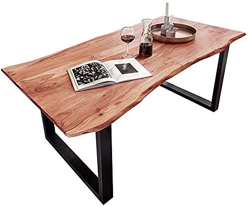 SAM Baumkantentisch 120x80 cm Quarto, Akazienholz massiv + naturfarben lackiert, Esstisch mit schwarz lackiertem U-Gestell, Esszimmertisch/Holztisch im Industrial-Design, Tischplatte 26 mm