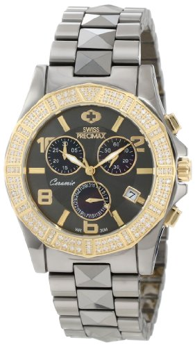 Swiss Precimax Women's SP12139 Luxe Elite Mother-Of-Pearl Dial Grey Ceramic Band Watch
