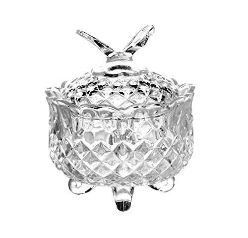 Glass Candy Sweet Bowl Jar with Lid Crystal Cut Look Bonbon Jar Sugar Bowl Small Decorative Chocolate Dish Storage Container Candy Buffet Box Round Footed Clear, Butterfly