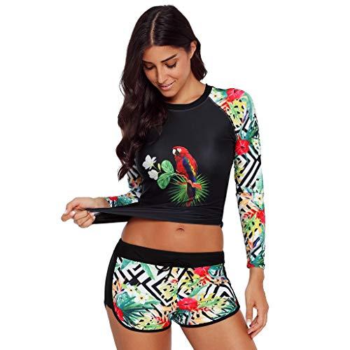 Bañador Deportivo Mujer, Dragon868 Manga Larga Traje de Baño con Floral Impresión, Rashguard UV Protección Conjunto de Ropa de Playa Bañador Camiseta y Shorts para Buceo Natación Surf