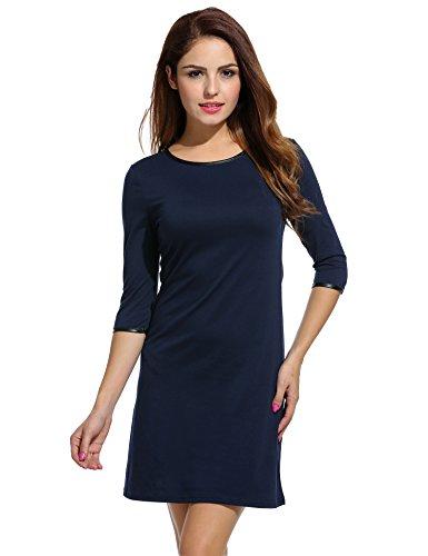 Meaneor Damen Herbst Shirtkleid 3/4 Ärmeln Etuikleid Businesskleid Jerseykleid Regular Fit Casual Rundhals Stretch Kunstleder Kragen Arm