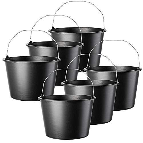 KADAX Baueimer, 20L, Mörteleimer aus Kunststoff, runder Eimer für Baustelle und Garten, Stabiler Wassereimer, Zementeimer mit Griff aus Metall, Mörtelkasten, schwarz, Putzeimer (6)