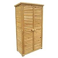 Un deposito aggiuntivo per gli accessori del giardino Dimensioni (L x l x H): 870 x 465 x 1600 mm In legno di abete rosso con tetto sigillato col catrame Protezione dei bordi inclusa Con porte a lamelle per una ventilazione supplementare