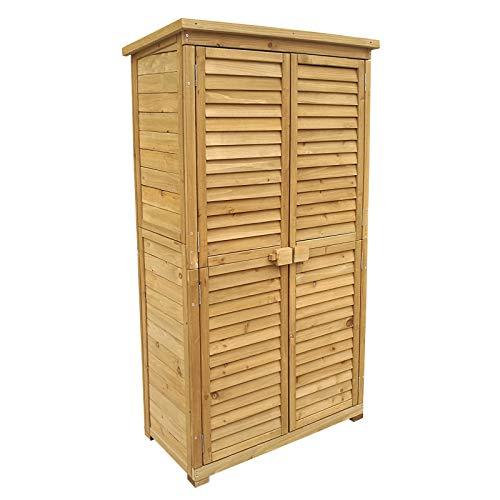 *Wiltec Gartenhaus mit Lamellentür 870x465x1600 mm aus Fichtenholz mit Bitumendach*