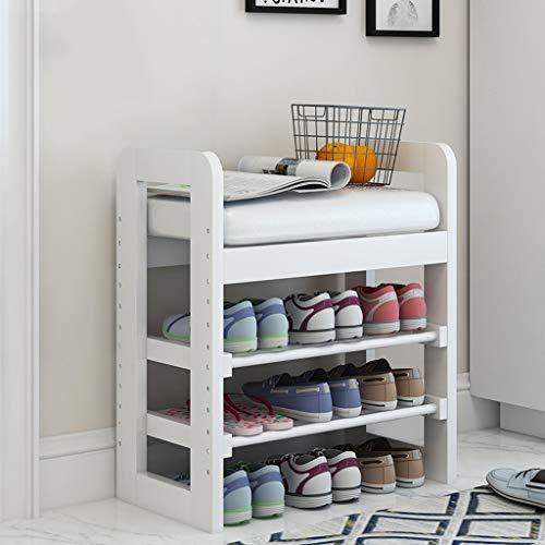 Banc de chaussure d'étagère de ménage de stockage de chaussure en bois d'entrée avec coussin, petits supports de chaussure 3tier pour un petit espace, bancs de chaussure avec le coussin en cuir de fau